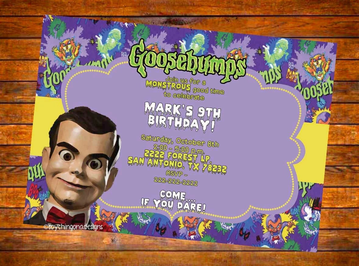 Custom DIGITAL Or PRINTED Goosebumps Birthday Invitation