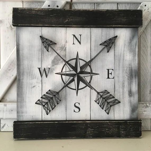 NAUTICAL WALL DECOR Compass Decor Rustic by ElevenOwlsStudio