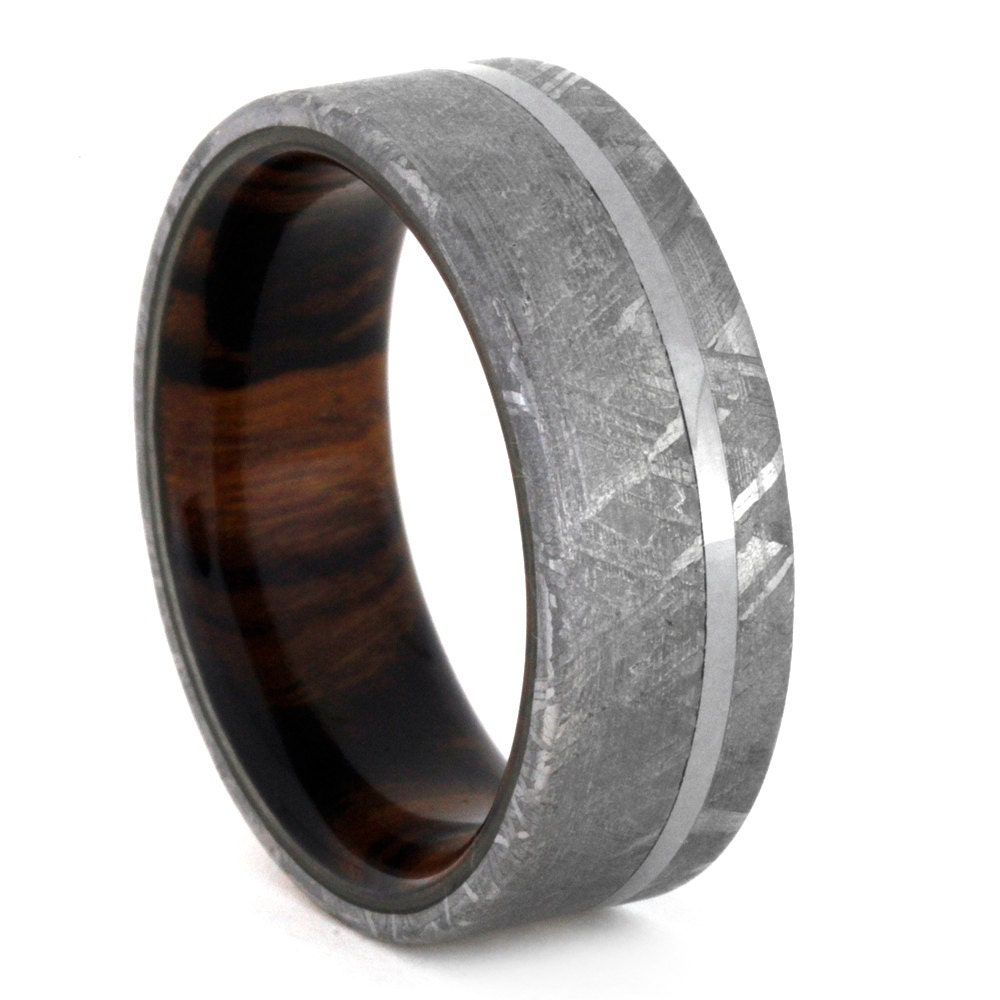 Meteorite Ring with Wood Sleeve Unique Mens by jewelrybyjohan