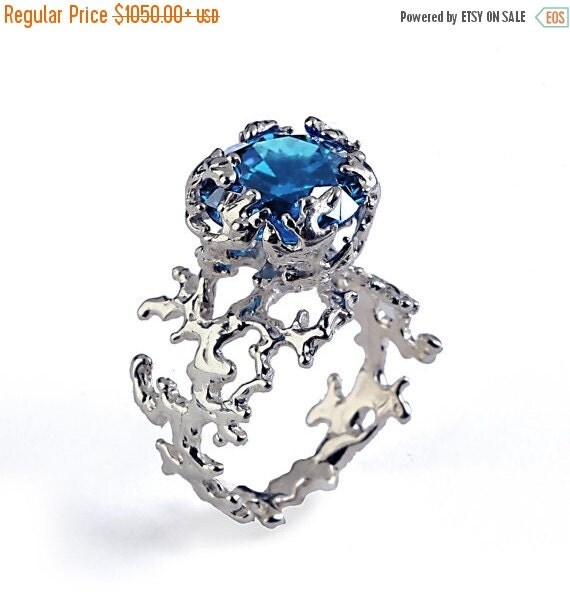 SALE CORAL London Blue Topaz Engagement Ring 14k Gold By