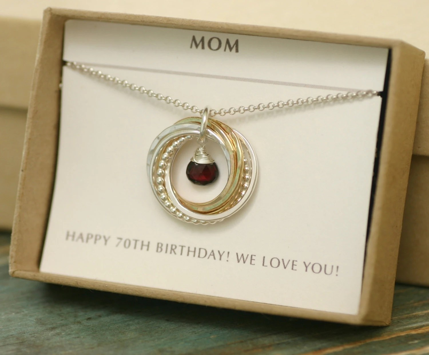 70th Birthday Gift For Women Garnet Necklace By
