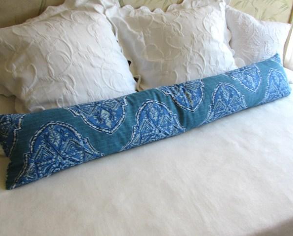 Decorative Bolster Pillow 10x54 Extra Long In Malta Cyan