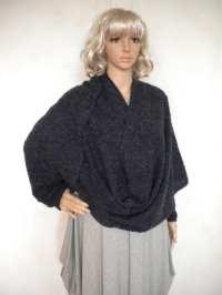 Oversize wrap cardigan shawl long sleeve cowl sweater shrug