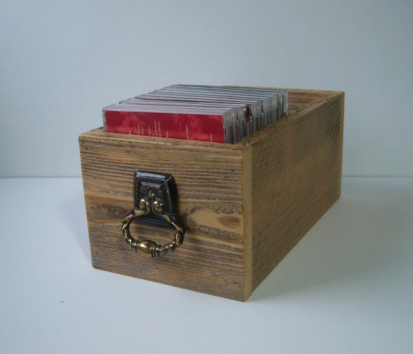 Wood Box Storage Rustic Cd Drawer Home Decor