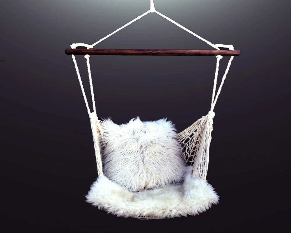 Vintage Macrame Hammock Swing Chair 1970s 70s Outdoor Indoor
