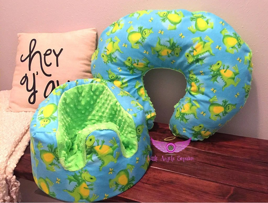 boppy baby chair green marbles table and chairs at walmart dragon minky bumbo cover pillow set