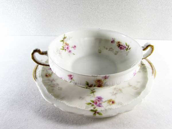 Theodore Haviland Bouillon Bowl With Plate Pink Roses Limoges