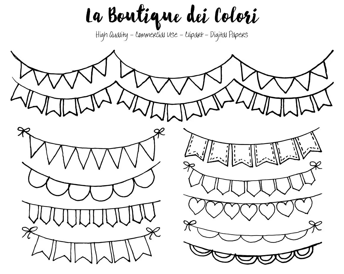 Hand Drawn Bunting Banners Doodle Digital Clip Art Party