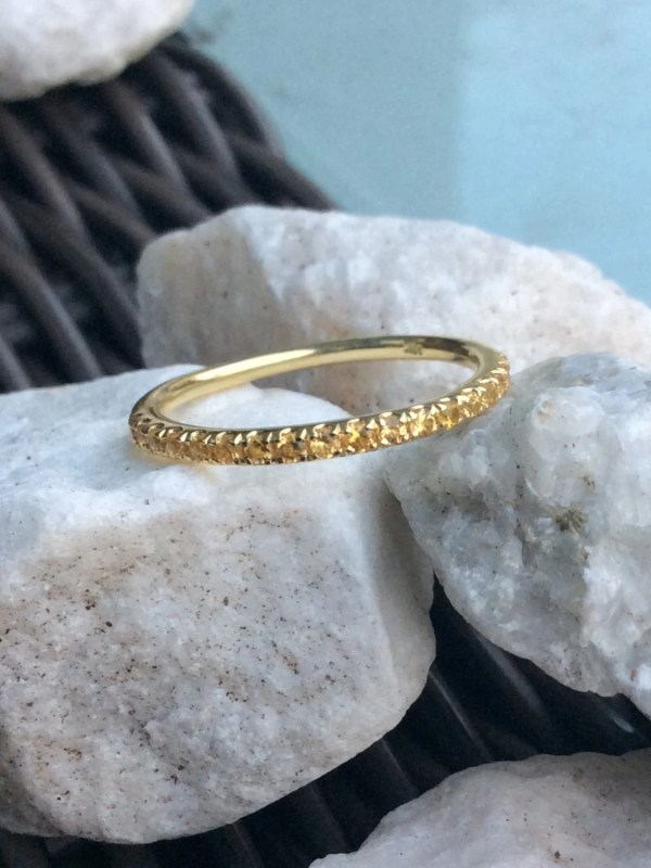 14k Citrine Eternity Band 1.7mm Pave