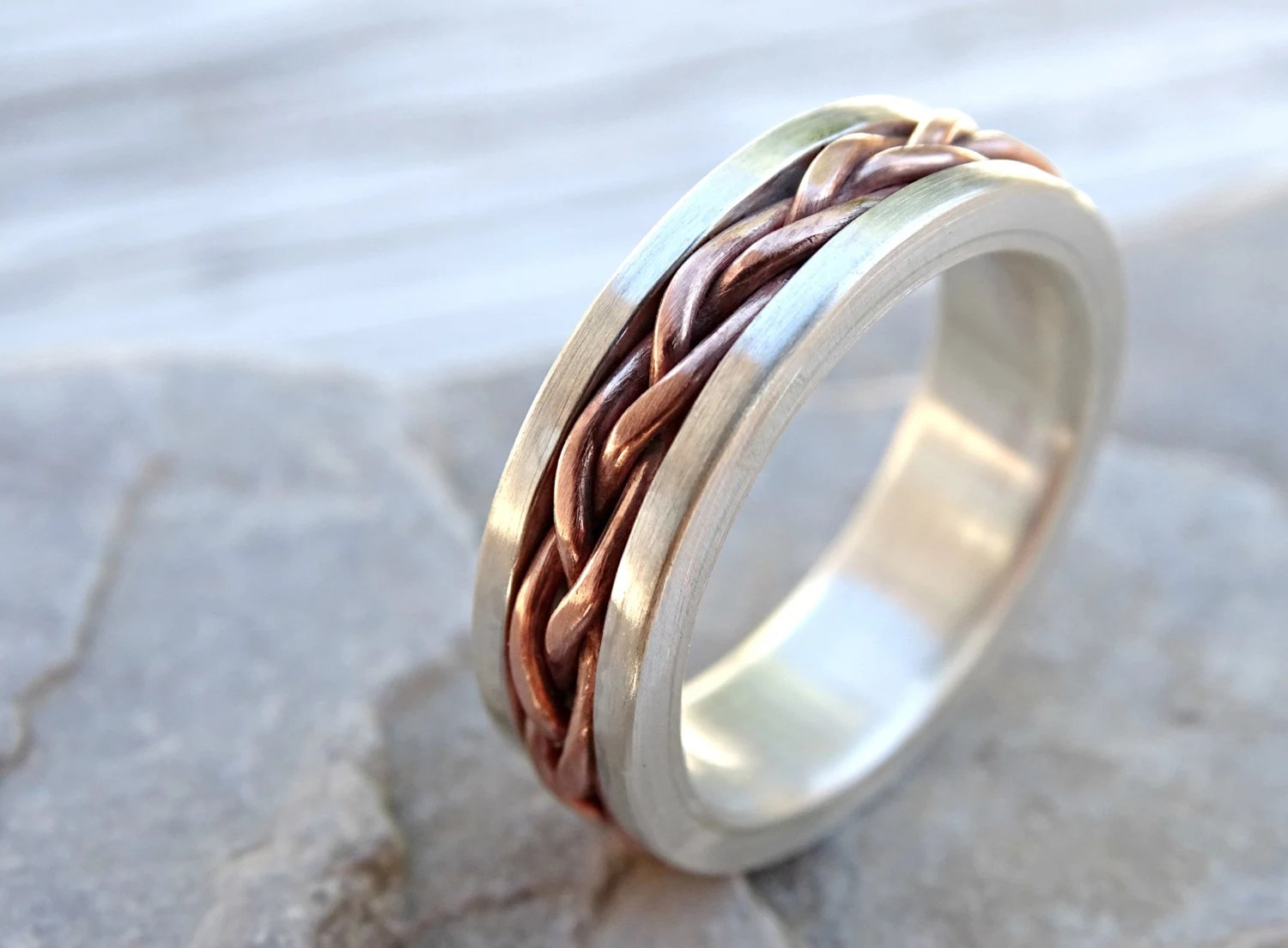 braided ring silver copper unique wedding band silver mens