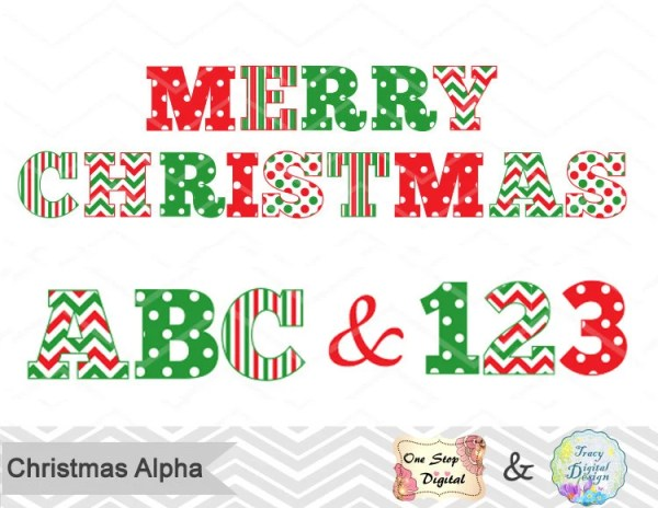 christmas alphabet digital clip