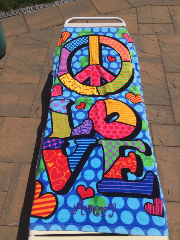 1970 Style Love And Peace Sign Design Cotton Beach Towel Wrap