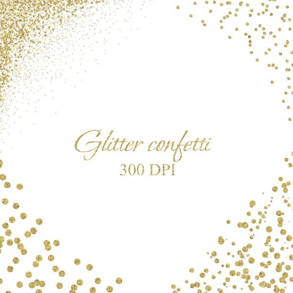 gold confetti borders and corner