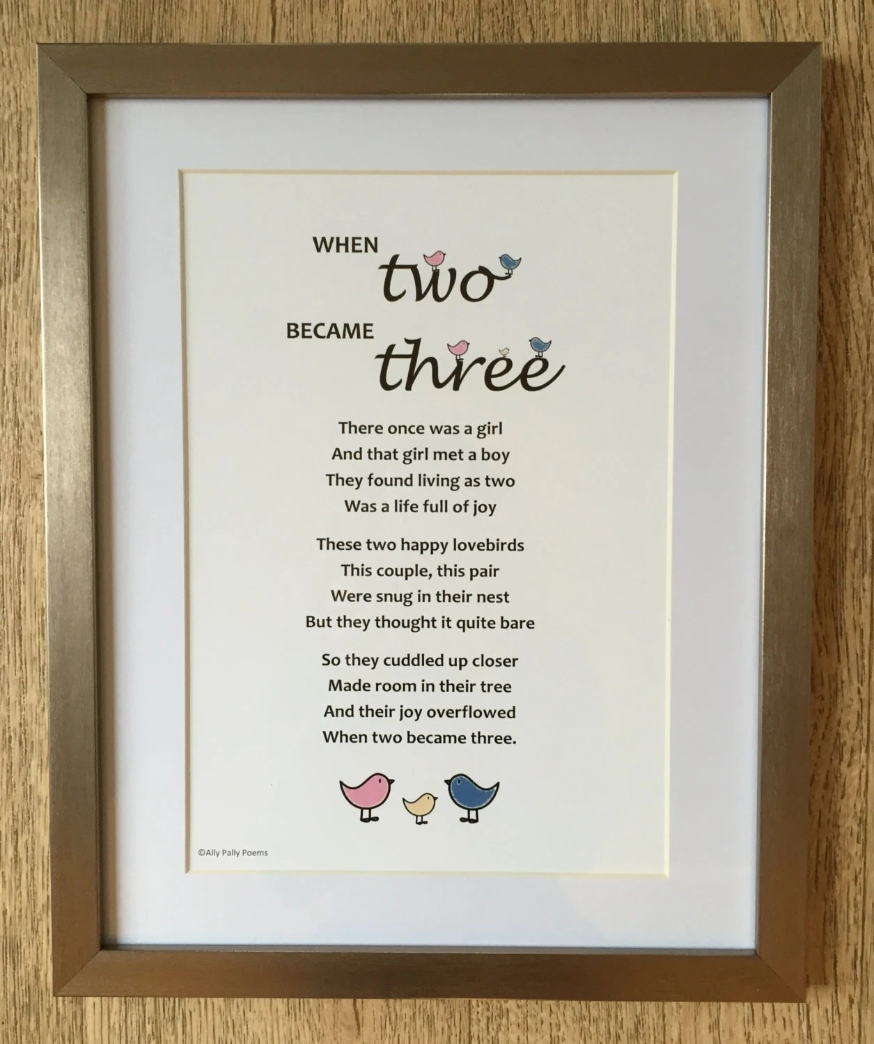 Poem For New Baby 'When Two Became Three' T For