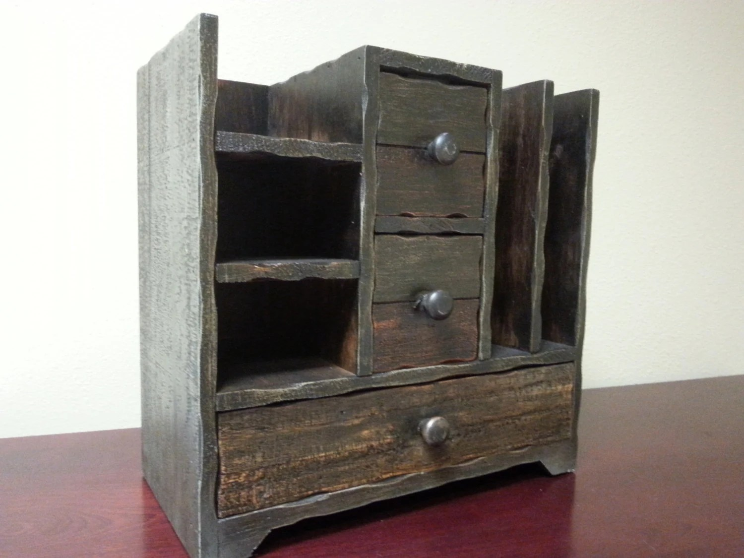 Rustic Distressed Desk Organizer Kitchen Wood by