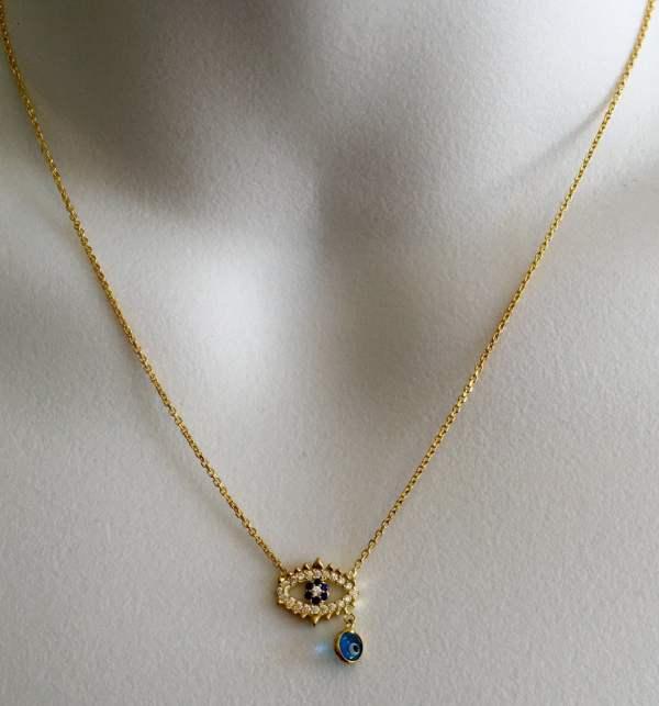 Karat Gold Evil Eye Necklace