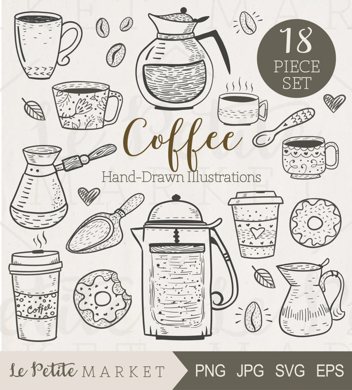 Cute Hand Drawn Cafe Clip Art Hand Drawn Coffee