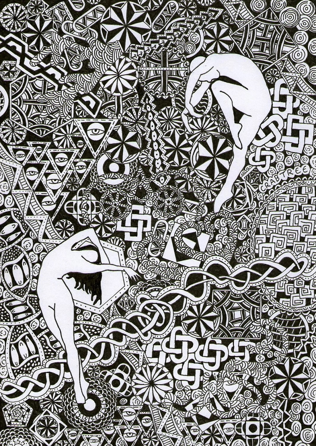 Original Pen And Ink Abstract Dancers Design Line Drawing