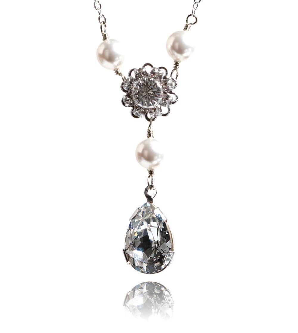 Bridal Swarovski Necklace Pearl Rhinestone Necklace Pendant
