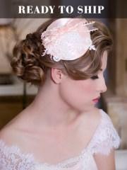 lace wedding hat blush pink hair