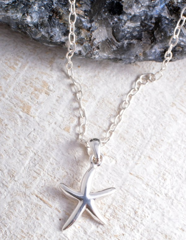 Sterling Silver Starfish Pendant Charm Chain Necklace