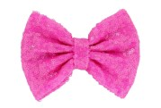 bright pink sequin hair bow clip