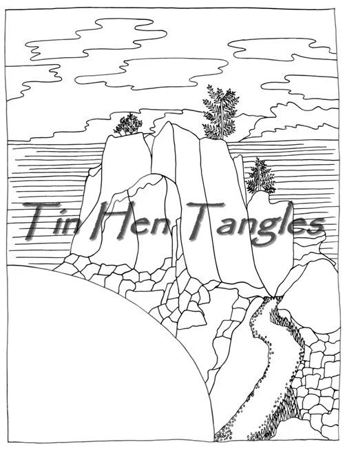 Rocky Bluff Coloring Page Digital Download Coloring for