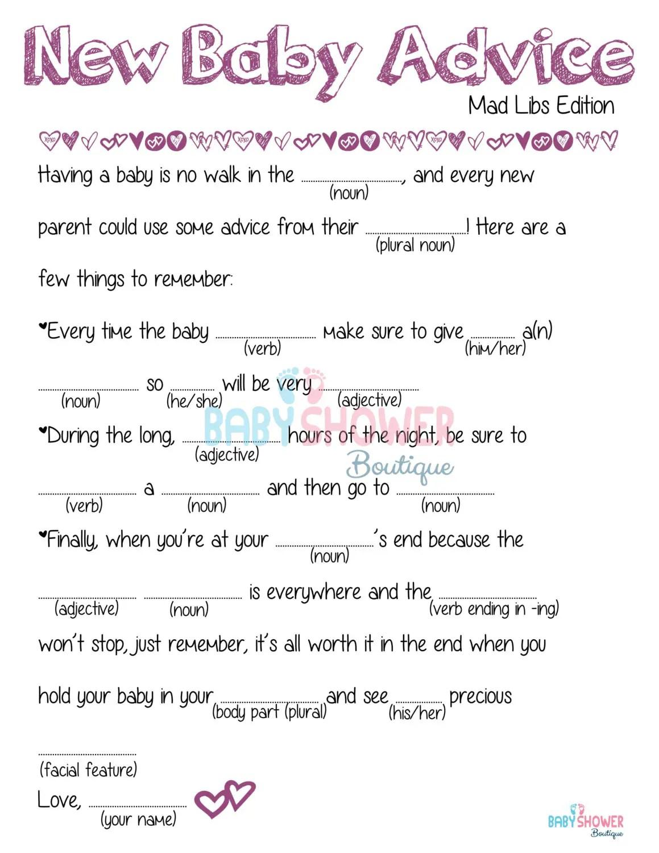 Mad Libs Baby Advice Card Baby Shower Game Purple Fun