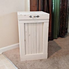 White Kitchen Trash Can Mobile Trailer Bin Washed Garbage Country Wood