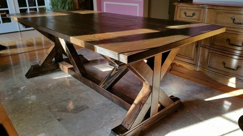 Farmhouse Dining Table W/ Trestle Legs