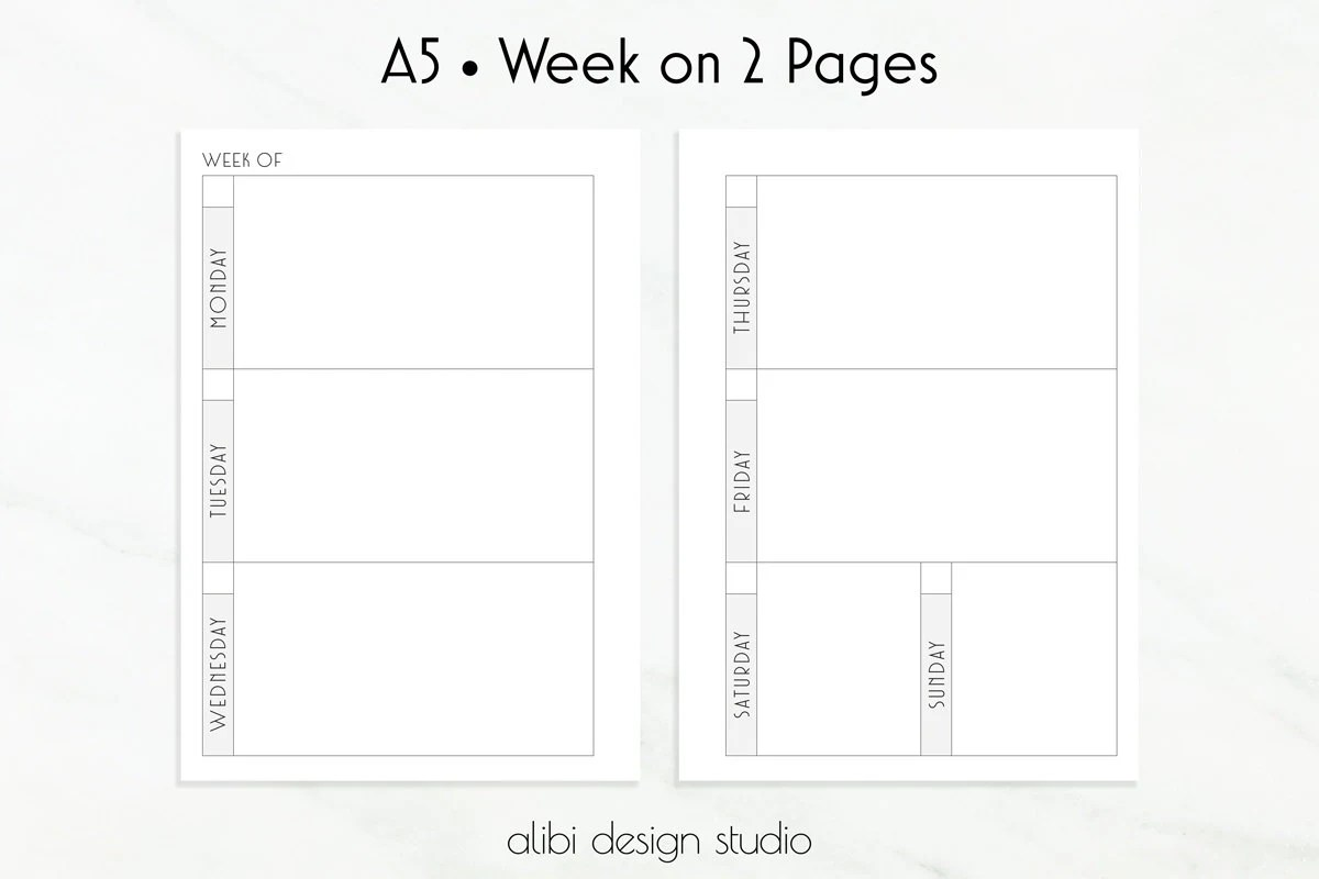 Planner Inserts A5 Week on 2 Pages / Weekly Planner
