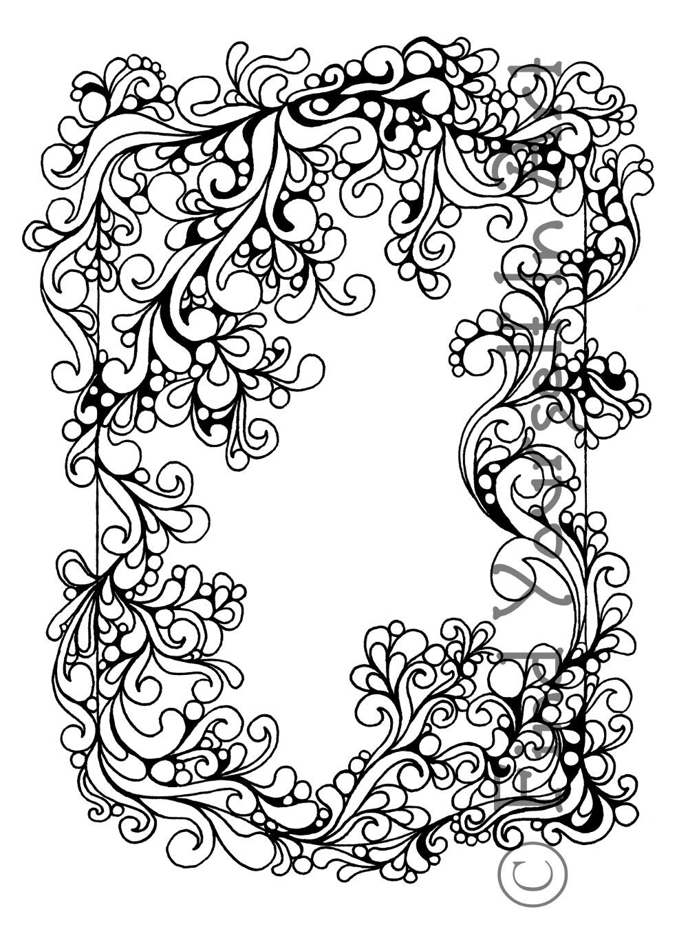 Adult Coloring Page Black and White Line Drawing Border