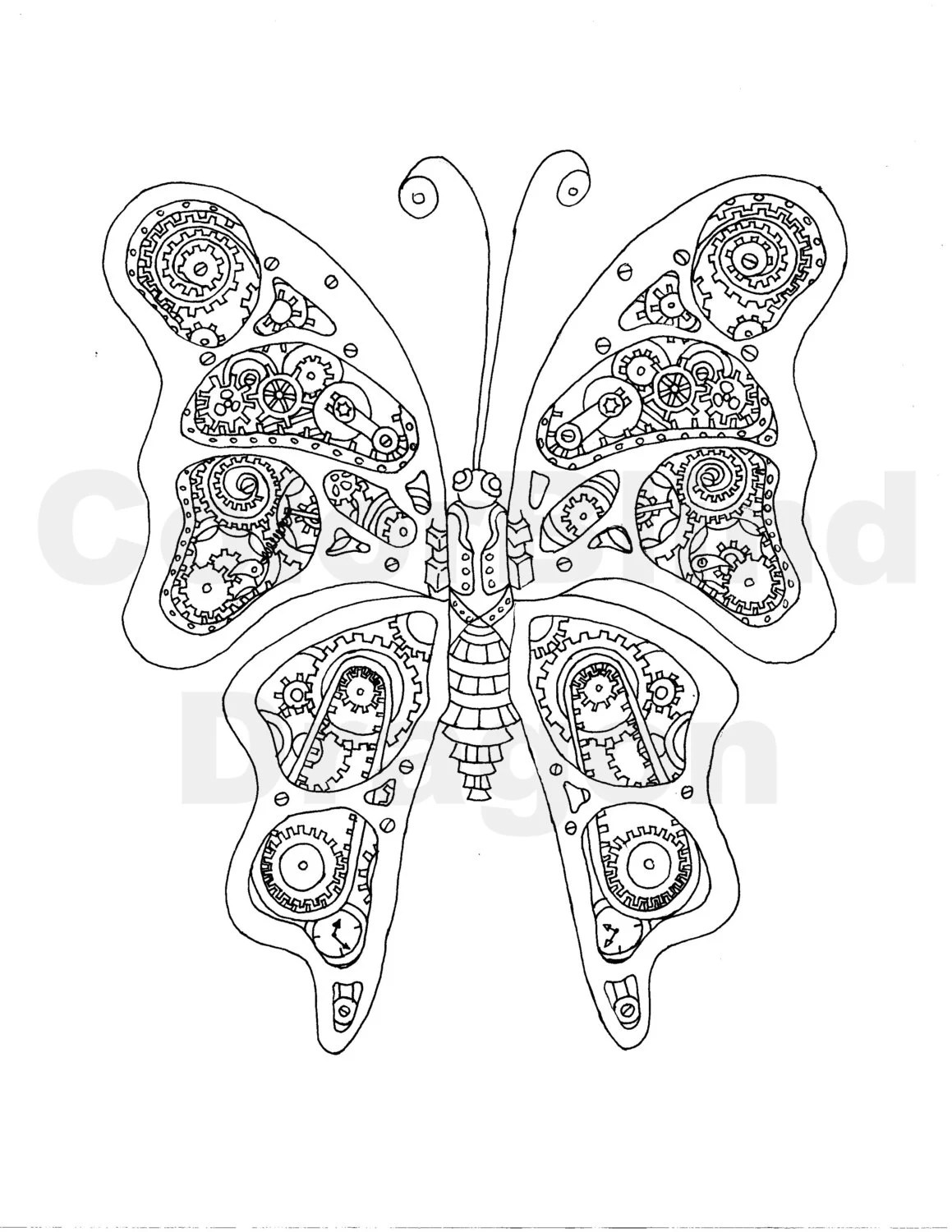 Steampunk coloring page butterfly coloring by colorblinddragon