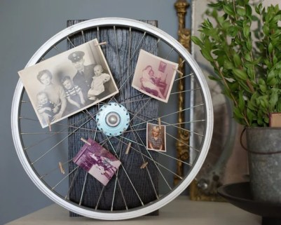 Reclaimed Bicycle Wheel Photo Display with Eight Miniature Clothespins