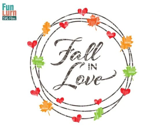 Download Fall in Love SVG Fall SVG maple leaves hearts Autumn