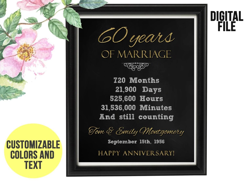 60 Year Wedding Anniversary Gift 60th Anniversary PRINTABLE