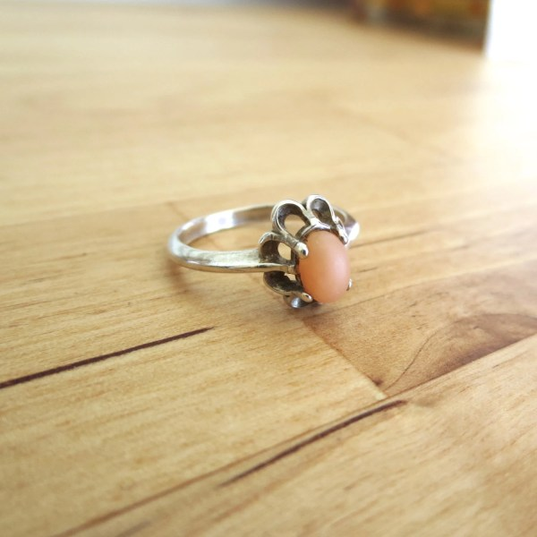14k White Gold Angel Skin Coral Ring Antique Jewelry Hand