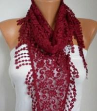 Burgundy Lace Scarf Spring Summer Fashion ShawlWomen by anils