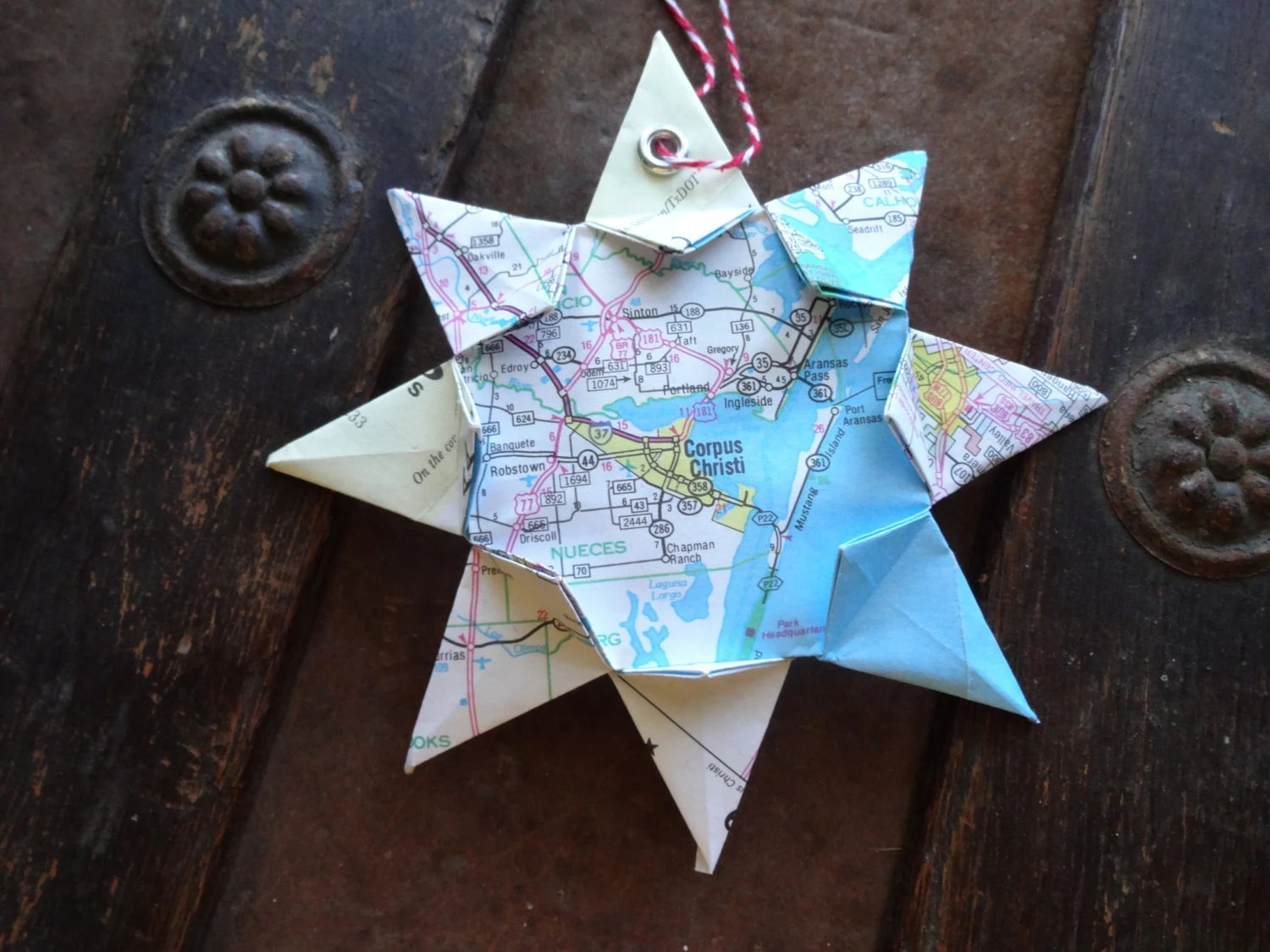 Origami Map Ornament Corpus Christi Tx Home Decor By TheFoxesTail
