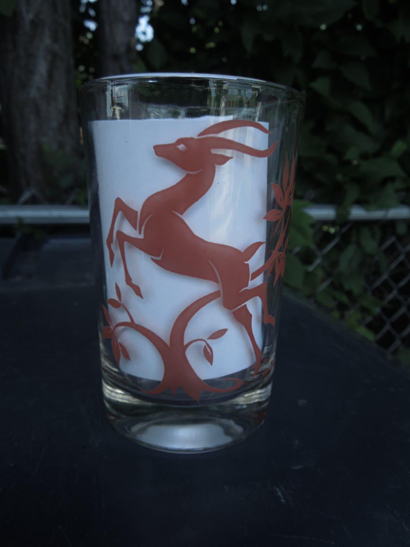 Vintage Drinking Glasses Red Antelope Gazelle Deer by