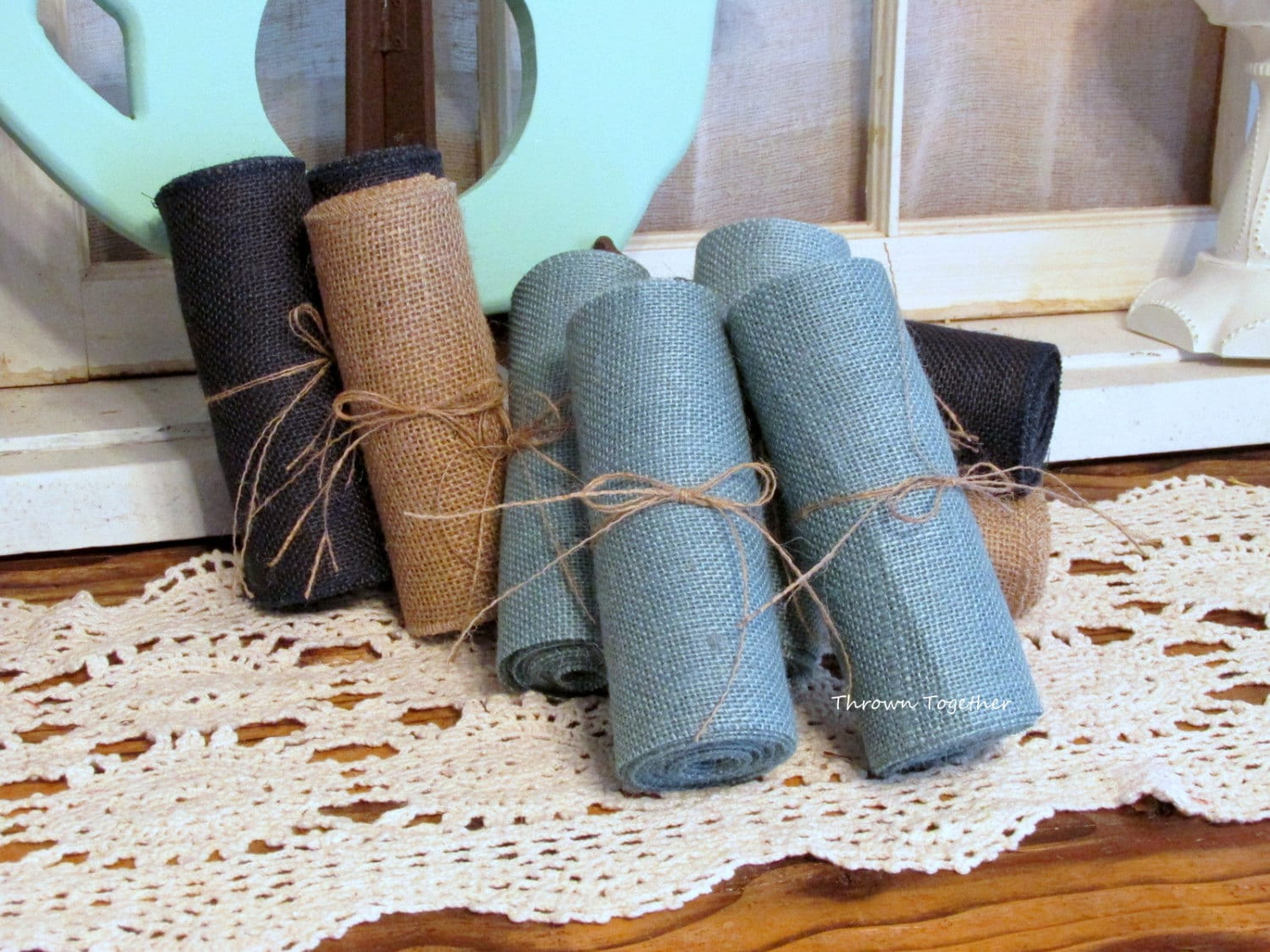 burlap chair sashes canada bedroom desk uk faded denim ribbon 6 quot wide