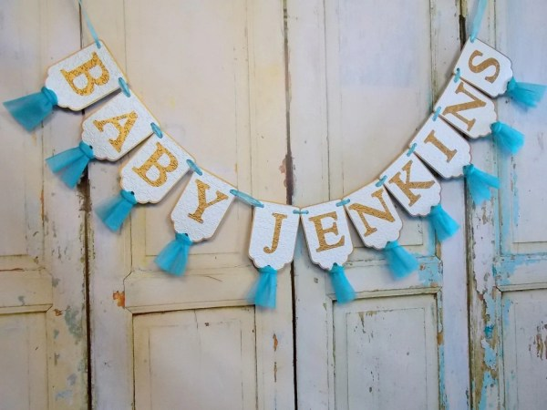 Custom Baby Shower Banner Aqua Turquoise And Gold Embossed