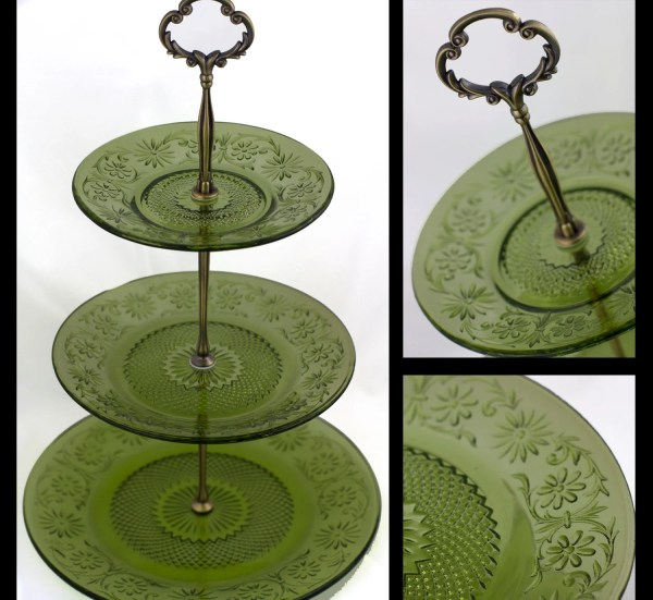 3 Tier Serving Tray Tiered Stand With Indiana Green Glass