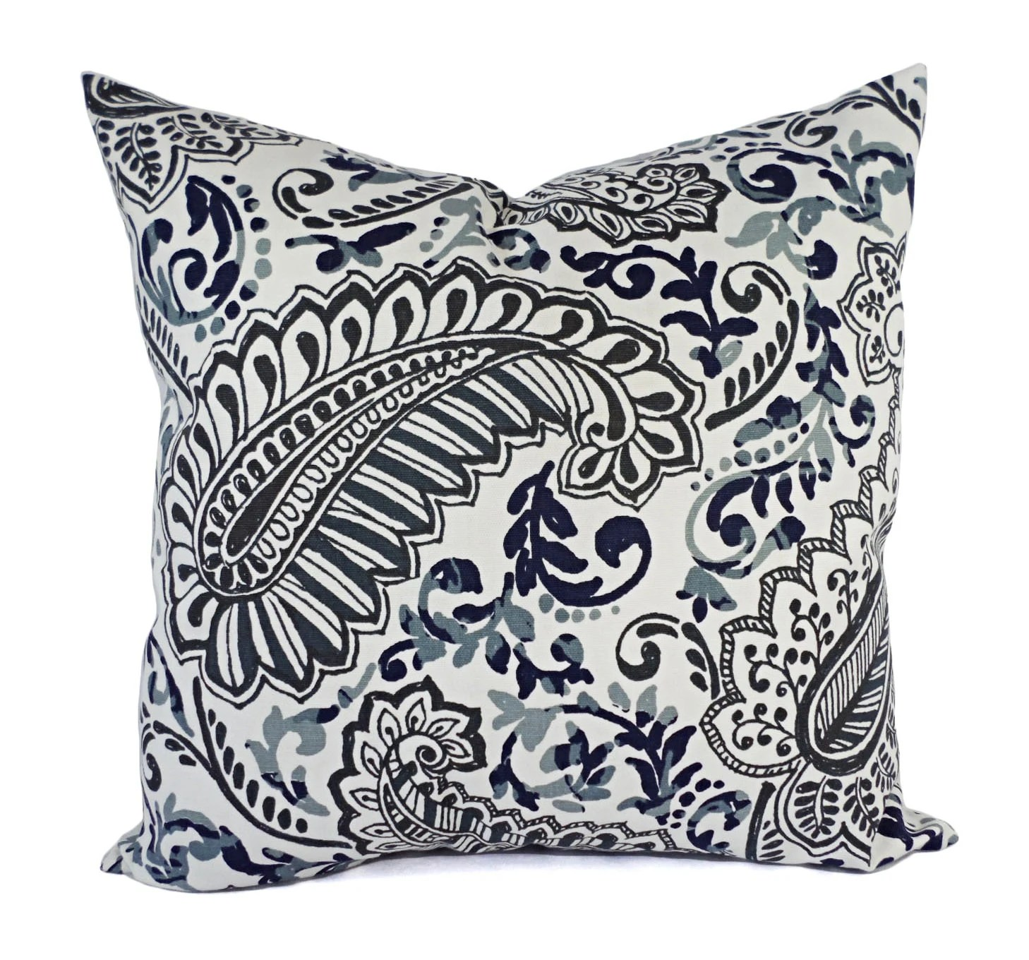 Two Pillow Covers Blue Grey and Brown Throw by