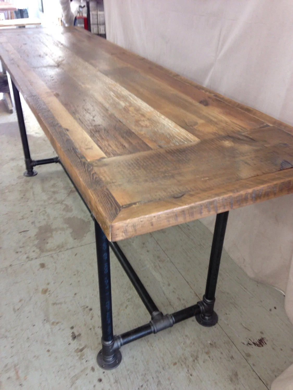 rectangle kitchen table with bench light over sink reclaimed wood dining modern industrial 8 ft x 3