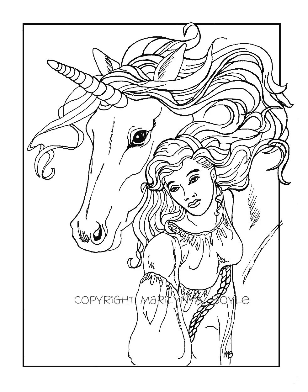 ADULT COLORING PAGE digital download maiden and unicorn
