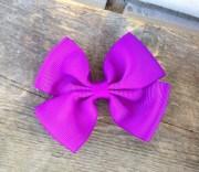 purple ribbon hair bow