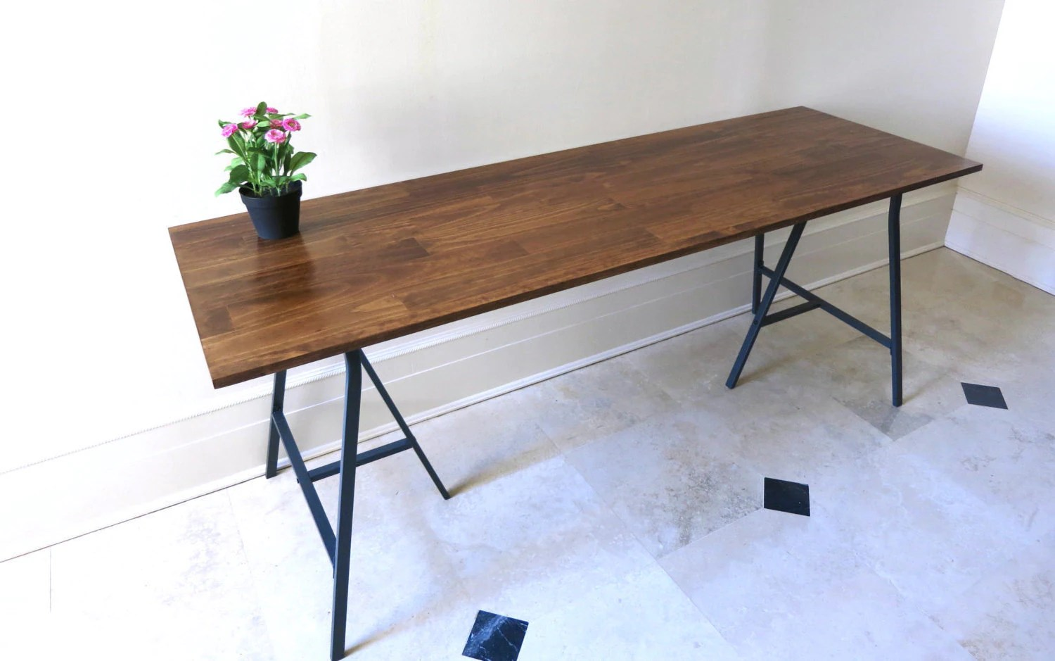 Long Desk or Narrow Dining Table Long Table by goldenrulenyc