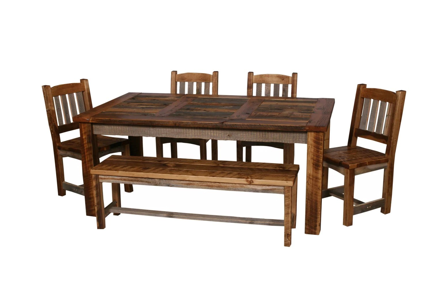barnwood dining room chairs used massage for sale natural barn wood table set furniture