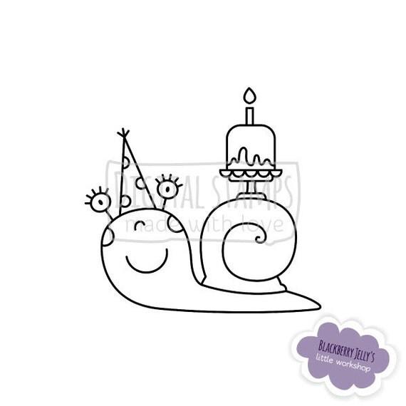 Digital Stamp Birthday snail